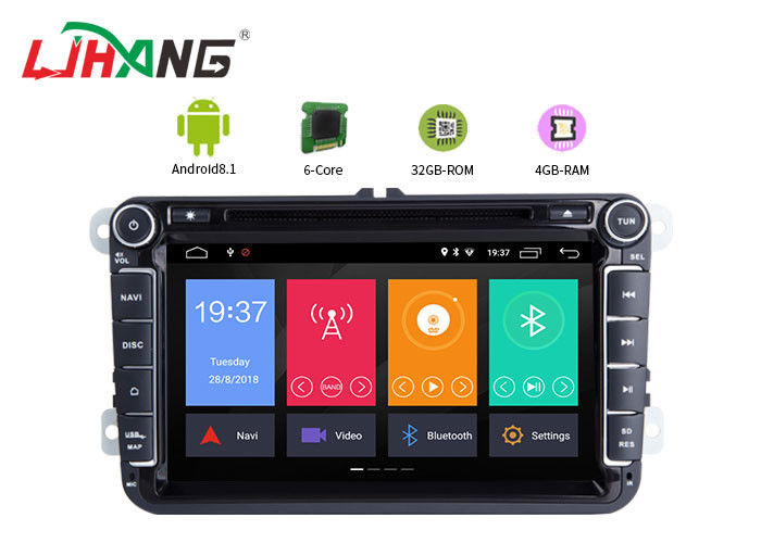 Rear Camera AUX Dvd Player For Vw Touran , Eight Core Volkswagen Touran Dvd Player